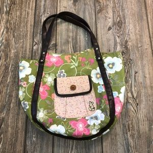 Mickey Mouse Disney Green Floral Print Bag Purse